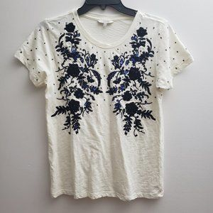 Lucky Brand Womens T-shirt Size Small Ivory Blue F